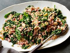 Mustard Greens and Ham with Toasted Couscous recipe from Food Network Kitchen via Food Network How To Cook Asparagus, How To Cook Pork, How To Cook Pasta, Cooking Mustard Greens, Leftover Ham Recipes, Couscous Recipes, Pork Ham, Food Network Recipes, Main Dishes