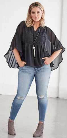 Plus Size Outfit – Shop the Look – plus size outfits Mode Xl, Mode Ab 50, Curvy Fashion, Look Fashion, Plus Fashion, Womens Fashion, Fashion Stores, Mode Outfits, Casual Outfits