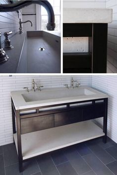 Betonas Double Trough Sink & Base - Bathroom Sinks - Modenus Catalog