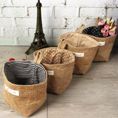 Double sided eco-friendly jute fabrics wall hanging storage bags small office baskets in Home & Garden Storage baskets - - Sewing Crafts, Sewing Projects, Wall Hanging Storage, How To Wrap Flowers, Flower Wrap, Coffee Sacks, Jute Fabric, Burlap Crafts, Fabric Crafts