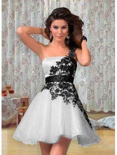 Mit Applikation Kurz Organza Asymmetrisch Festliche Kleider zur Hochzeit