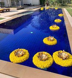 Floor decoration - Blue floor with yellow marigold n gold lotus looks beautiful… - Desi Wedding Decor, Indian Wedding Decorations, Indian Decoration, Wedding Ideas, Wedding Centerpieces, Mehndi Party, Wedding Mehndi, Goa Wedding, Bengali Wedding