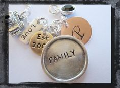 Family Necklace Mixed Metal Hand Stamped by LillyEllenDesigns, $62.00