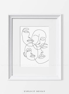 Girl Faces Printable Fine One Line Print Black White