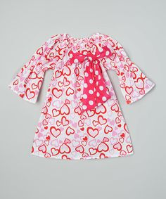 Look at this Royal Gem Pink Hearts Bow Dress - Infant, Toddler & Girls on #zulily today!