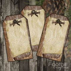 INSTANT DOWNLOAD -  12 Country  Rustic Christmas Gift Tags - 1.5 x 2 7/8 - Printable Digital Collage Sheet -  Merry Christmas - Bows #countrytags #gift_tags #christmastags #holidaytags #rustic #vintagestyletags #foothillcrafters #etsy