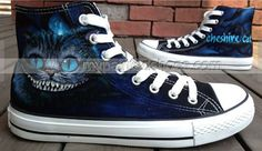 Alice In Wonderland-Cheshire Cat-Studio Hand Painted Shoes On Custom Converse Shoes Only One Get One IPhone Case Free Custom Converse Shoes, Converse Sneakers, Custom Shoes, Converse All Star, High Top Sneakers, Cool Converse High Tops, Blue Sneakers, Chesire Cat, Cat Shoes