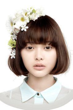 (Tina Tamashiro) chin length bob w/ bangs - want bangs slightly higher above eyebrows
