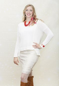 Dressing Your Truth Type 1 Holiday Look!  Snow Storm Sweater Holly Berries Necklace Bow Show Cuff http://shopdyt.com