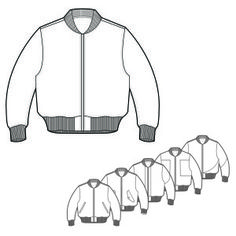 Mens Bomber Jacket Technical Drawings