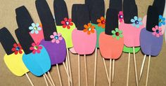 This listing is for 12 cupcake toppers in the shape of nail polish. They are great for your spa party. They are perfect for cupcakes or other