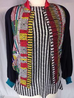 Diane Gilman s Silk Jacket Black Abstract and Silk Blouse | eBay