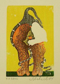 Schlick,Wolfgang : Holzschnitt von 1974, handsigniert