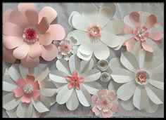 Giant Paper Flower Wall Backdrop for Wedding Party or Event DIY by FlowerGirlStacy on Etsy
