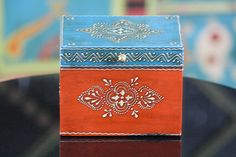 Wooden Hand Painted Decorative Box in Blue and Orange Colors with an Intricate Pattern Painted Wooden Boxes, Hand Painted, Wooden Hand, Cool Paintings, Orange Color, Decorative Boxes, Colors, Pattern, Blue