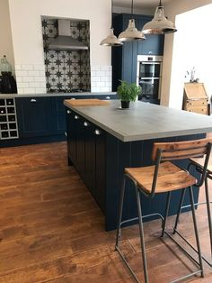 Our Blue Kitchen - A House Project Update - Holly Goes Lightly Blue Kitchens, Kitchen Inspirations, Home Remodeling, Open Plan Kitchen, House Interior, Home Renovation, Home Kitchens, Kitchen Renovation, Blue Kitchen Island