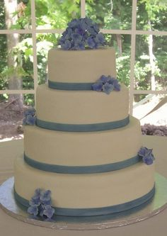 Wedding cake - blue hydrangeas. Personally, for my wedding I want something a little more elaborate but still in the theme of the blue hydrangea!