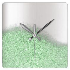 Glitter Mint Green Greenery Gray Minimal Metallic Square Wall Clock - minimal gifts style template diy unique personalize design