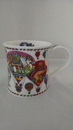 "Dunoon Mug Sue Scullard ""Montgolfier Elephant"" Hot Air Balloon Fine Bone China  #Dunoon"