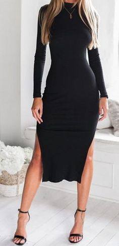 Chic and Simple Black Side Slit Backless Long Sleeve Midi Dress: