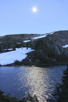 Moon rising over Camp Lake
