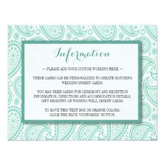 Simple yet elegant, the modern paisley wedding collection is a stunning design featuring a lovely paisley print in a soft green and white color, which is perfect for any modern wedding celebration. <br> <br> These insert cards can be personalized for your special occasion and would make the perfect detail, information, accommodation, direction, gift registry or wishing well card for your wedding, bridal shower, engagement party, birthday party and many more special occasions. <br> <br> Add…