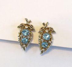 Vintage Blue Rhinestone Earrings Signed Coro.