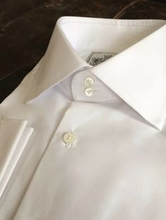 Solid White Tailored Executive Shirt White Shirt Men, Red Shirt, White Shirts, Button Collar Shirt, High Collar Shirts, Tie And Pocket Square, Pocket Squares, Designer Suits For Men, Collar Styles