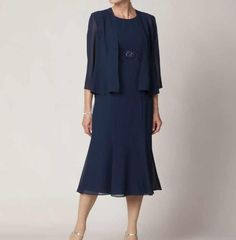 Wholesale Graceful Crew Neck Knee Length Mother Of The Bride Dresses Chiffon Dark Blue Formal Evening Dress With jacket Half Sleeve, Free shipping, $83.3/Piece | DHgate Mobile