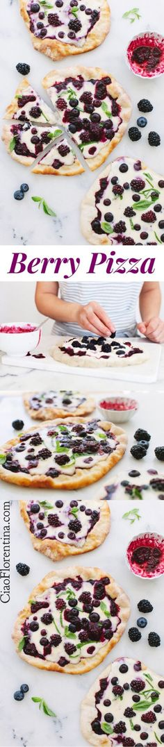 Berry Pizza with Blackberry Blueberry Sauce and Whipped Ricotta and Mascarpone Cheese | CiaoFlorentina.com @CiaoFlorentina