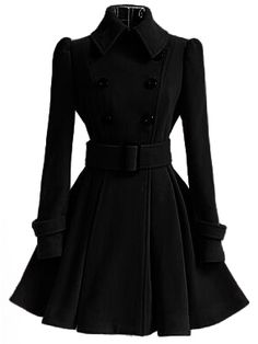 Pretty !!! Fashionable work outfits for women - Black Lapel Double Breasted Belt Coat+ fashion boots