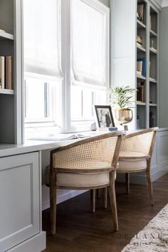The Brinton - Alice Lane Home Interior Design Office Interior Design, Office Interiors, Interior Decorating, Office Designs, Modern Interior, Built In Desk, Built In Bookcase, Bookshelves, Home Office Space