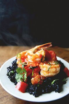 Chili Shrimp with Tomato, Ginger, and Cilantro Over Black Rice