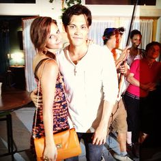 Alexandra Chando (Emma/Sutton) and Blair Redford (Ethan) behind the scenes of The Lying Game.