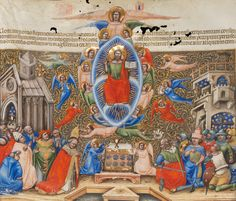 The coronation of a pope and a king in the presence of laypersons and clerics under the gaze of God. You can see on the background a representation of a castel and a church. #manuscript #parchment #illumination