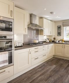 Our homes come with many extras included as standard - such as A rated AEG/Electrolux integrated kitchen appliances. Find out more. Kitchen Cabinet Layout, Kitchen Room Design, Home Decor Kitchen, Kitchen Living, Interior Design Kitchen, New Kitchen, Home Kitchens, Modern Kitchen Design, Cabinet Design