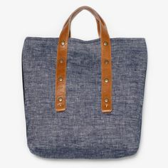 Poketo Linen and Leather Tote
