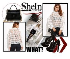 """""""Shein White Blouse"""" by janie-xox ❤ liked on Polyvore featuring Valentino and Dolce&Gabbana"""