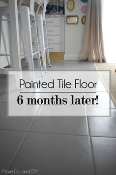 painted tile floor update-six months later - Home and Garden ideas - Painted floor tiles Painting Ceramic Tile Floor, Stenciled Tile Floor, Painting Bathroom Tiles, Tile Floor Diy, Painting Tile Floors, Bathroom Floor Tiles, Paint Floor Tiles, Painting Over Tiles, Ceramic Tile Bathrooms