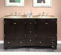 Silkroad Exclusive 60-inch Travertine Stone Top Bathroom Vanity Double Sink Cabinet - Overstock™ Shopping - Great Deals on Silkroad Exclusive Bathroom Vanities