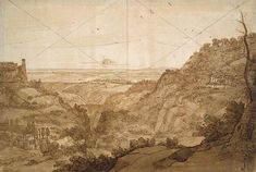 claude lorrain - view of campagna di roma from tivoli,  pen and brush with brown  wash, 1645.
