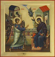 Ευαγγελισμός της Θεοτόκου / Annunciation of the Theotokos Byzantine Icons, Byzantine Art, Jesus Christ Images, Russian Icons, Orthodox Icons, Sacred Art, Religious Art, Fresco, Medieval