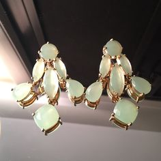 Kate Spade chandelier statement earrings Eye popping statement earrings by Kate Spade. A beautiful Aqua/sea foam green color. Adds a nice pop of color to any outfit. No trades. kate spade Jewelry Earrings