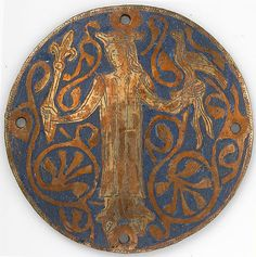 Medallion with a Queen Holding a Scepter and Falcon  Date: ca. 1240–60 Geography: Made in Limoges, France Culture: French Medium: Copper: engraved and gilt; champlevé enamel: medium and light blue and white Dimensions: Overall: 3 1/2 x 1/16 in. (8.9 x 0.2 cm)