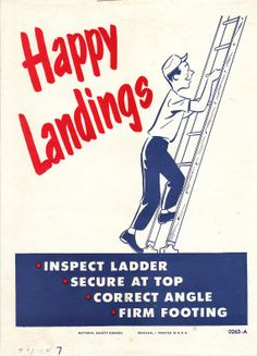 Vintage Work Safety Poster  Happy Landings by niminsshop on Etsy, $10.95