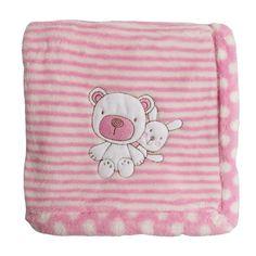 Absorba Newborn Girls Polar Fleece Pink Striped Baby Blanket