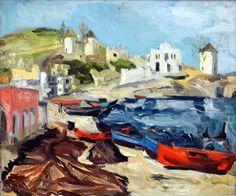 Landscape from Paros Island - Ion Tuculescu Post Impressionism, Impressionist, Paros Island, Popular Art, Fashion Painting, Art Database, City Art, Greek Islands, Famous Artists