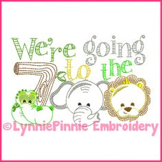 We're Going to the Zoo Colorwork Embroidery Design 4x4 5x7 6x10