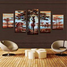 Tanyang Femme Africaine Classique Vintage Wall Art 3 pi/èce Toile Peinture Affiche Affiches Et Gravures Images D/écoratives pour La D/écoration Int/érieure Imperm/éable//sans Cadre 30cm*50cm*3pcs