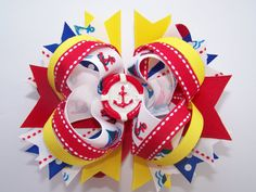 Sailboat and Anchor Boutique Bow by laladivabowtique on Etsy, $9.50